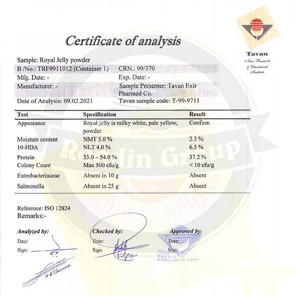 royal jelly certificate of analysis